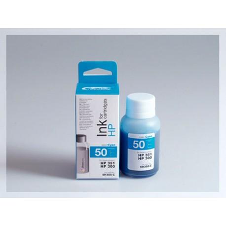 CROCODILE 5H300-C, 50ml samostatný inkoust pro HP CB337,351-CB338,351-CC644EE,300XL-300