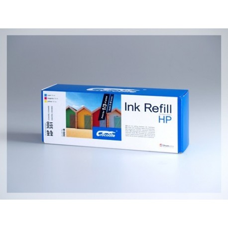 CROCODILE 300-B, plnící sada Refill kit, color, cartridge HP300, 300XL,CB337,351,CB338,351