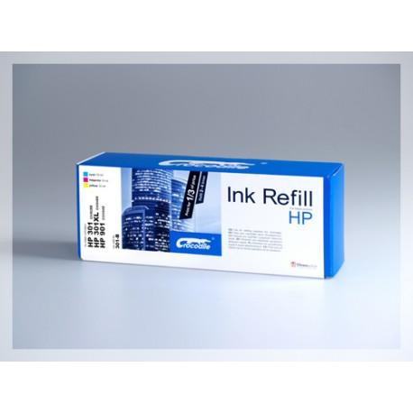 CROCODILE 301-B, plnící sada Refill kit, barevná, pro cartridge HP 901, 301, 301XL