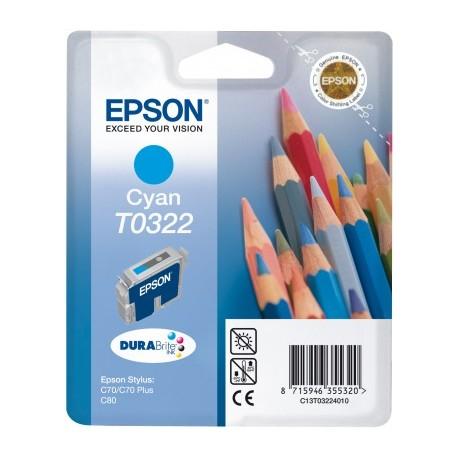 EPSON T0322 C, kompatibilní cartridge, 16ml-pigment, cyan-azurová