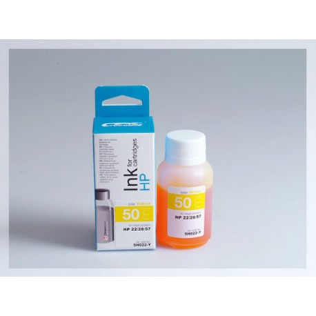 CROCODILE 5H022-Y, 50ml samostatný inkoust pro HP C8728, 28 - C6657, 57 - C9352, 22.