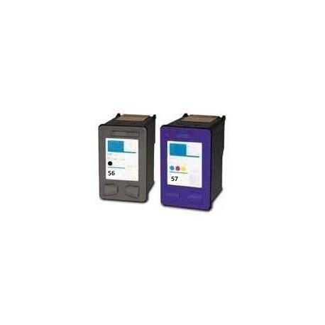 HP C6656+C6657 - No.56+57, kompatibilní cartridge, 23ml+21ml, C, M, Y, Color - barevná, pw